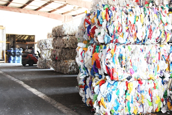 Baled plastic bottles waiting to be recycled